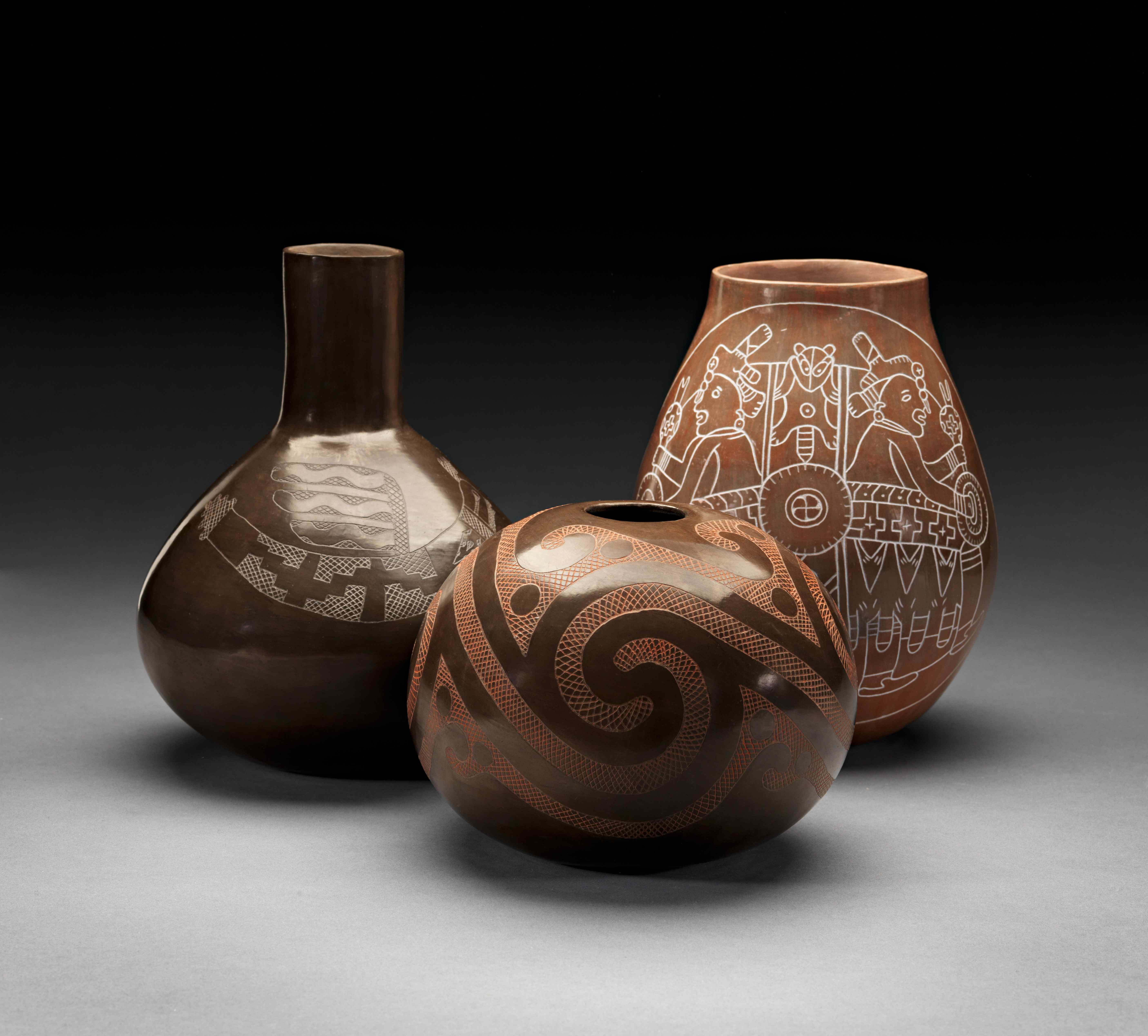 clay vessels by native american potter jeri redcorn added to