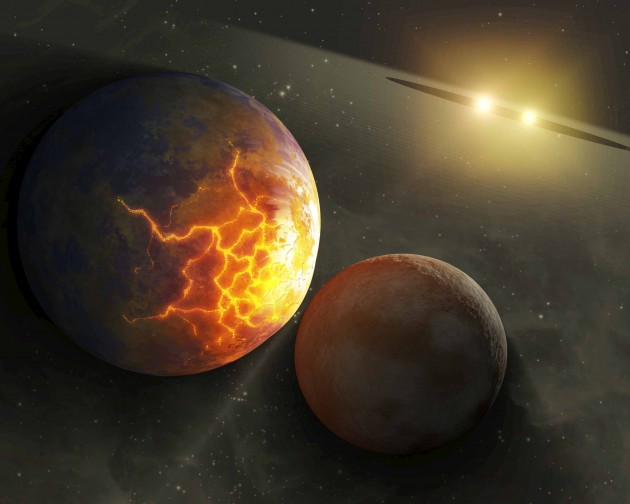 Artist's concept illustrating an imminent planetary collision around a pair of double stars.