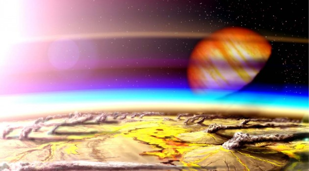 Image right: This artist's conception shows an extremely volcanic moon orbiting a gas giant planet in another star system. New research suggests that astronomers using the James Webb Space Telescope could potentially detect volcanic activity on a distant Earth-sized planet by measuring volcanic gases in its atmosphere. (Illustration by Wade Henning)