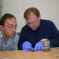 Alain Touwaide and Robert Fleischer examine a phial recovered from the wreckage.