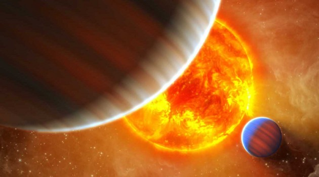Image right: An artist's conception of the extrasolar planetary system around the star Kepler-9. Astronomers have discovered an earth-sized planet in this system. (Photo courtesy NASA, Kepler, T. Pyle)