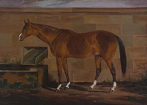 """Image left: """"Portrait of Lexington"""" by Thomas J. Scott, 1888, oil on canvas mounted on fiberboard, Smithsonian American Art Museum Gift of Mr. and Mrs. David K. Anderson, Martha Jackson Memorial Collection"""