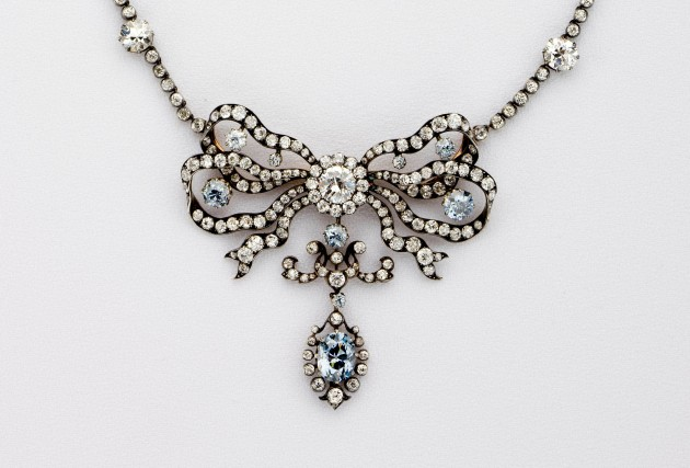 detail of a diamond-studded necklace