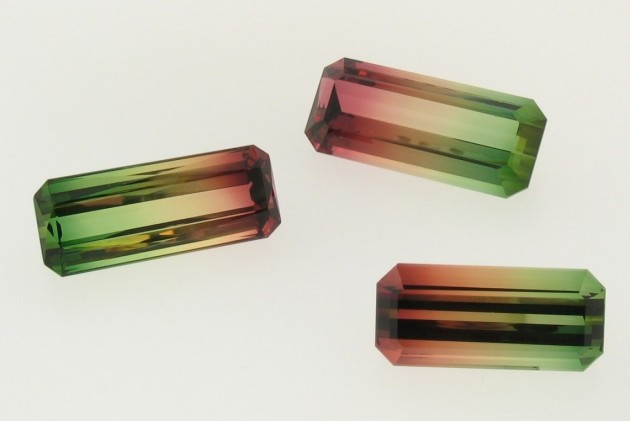 three colorful tourmaline gemstones