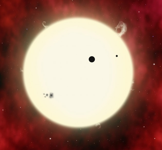 artists conception of a star showing a transiting planet and its moon