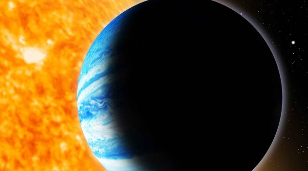 Image right: An artist's conception of the newly discovered alien planet Qatar-1b. Qatar-1b is a gas-giant planet, 1.1 times more massive than Jupiter and with a diameter 1.2 times that of Jupiter. It orbits an orange dwarf star (named Qatar-1 in honor of the discovery) located 550 light-years from Earth in the northern constellation Draco. (Illustration David Aguilar, Harvard-Smithsonian Center for Astrophysics)