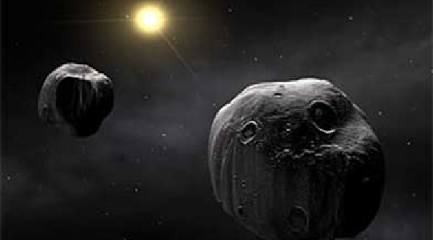 An artist's rendering of the binary asteroid 90 Antiope, located in the outer part of the main asteroid belt between Mars and Jupiter. Credit: Copyright European Southern Observatory