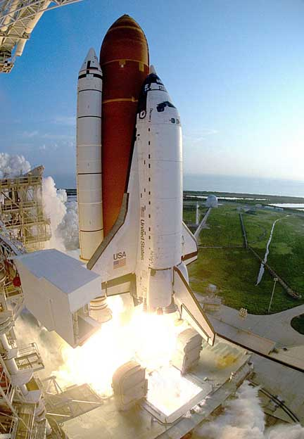 In this photo taken with a fisheye lens, shuttle Discovery roars away from Launch Pad 39B at 7:45 a.m. EDT as the STS-51 mission begins. The Advanced Communications Technology Satellite and attached Transfer Orbit Stage booster were deployed during the flight, along with a second primary payload, the Orbiting and Retrievable Far and Extreme Ultraviolet Spectrograph-Shuttle Pallet Satellite. Image credit: NASA