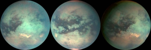 TITAN: Titan is the largest of the 53 known moons orbiting Saturn. Despite its distance from the Sun, Titan is arguably one of the most Earth-like worlds we have found to date. With its thick atmosphere and complex, carbon-rich chemistry, Titan resembles a frozen version of Earth several billion years ago, before life began pumping oxygen into our atmosphere. Sensitive instruments onboard NASA's Cassini spacecraft peered through Titan's atmosphere to obtain these false-color views of its surface. The image in the middle is of the opposite side of the moon than the other two. Cassini has revealed that Titan's surface is shaped by rivers and lakes of liquid ethane and methane, which form clouds and occasionally rain from the sky as water does on Earth. Winds sculpt vast regions of dark dunes that girdle the equator and low latitudes. Volcanism may occur as well, but with liquid water lava versus molten rock lava here on Earth. Image Credit: NASA/JPL/University of Arizona