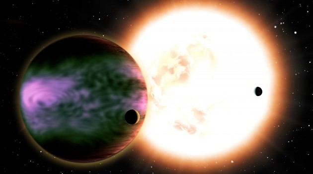 """Image right: This artist's conception shows a """"hot Jupiter"""" and its two hypothetical moons and a sunlike star in the background. (David A. Aguilar image)."""