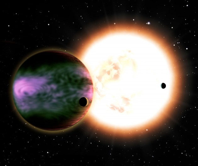 "Image right: This artist's conception shows a ""hot Jupiter"" and its two hypothetical moons and a sunlike star in the background. (David A. Aguilar image)."