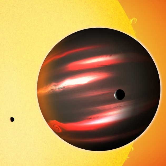 Image right: The distant exoplanet TrES-2b, shown here in an artist's conception, is darker than the blackest coal. This Jupiter-sized world reflects less than one percent of the light that falls on it, making it blacker than any planet or moon in our solar system. Astronomers aren't sure what vapors in the planet's superheated atmosphere cloak it so effectively. (Image: David A. Aguilar)