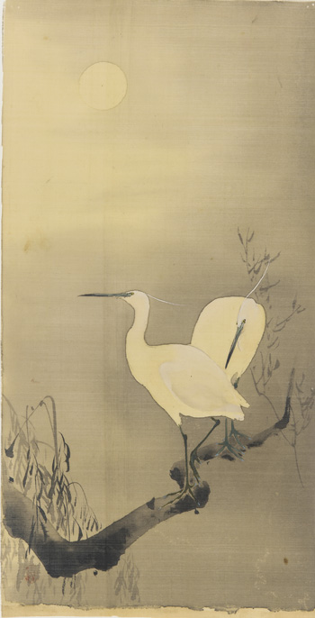 "This Japanese artwork, ""Pair of Cranes on Branch,"" was made from ink and color painted on silk. It is one of hundreds of artworks containing silk fibers in the collections of the Smithsonian's Freer and Sackler Galleries."