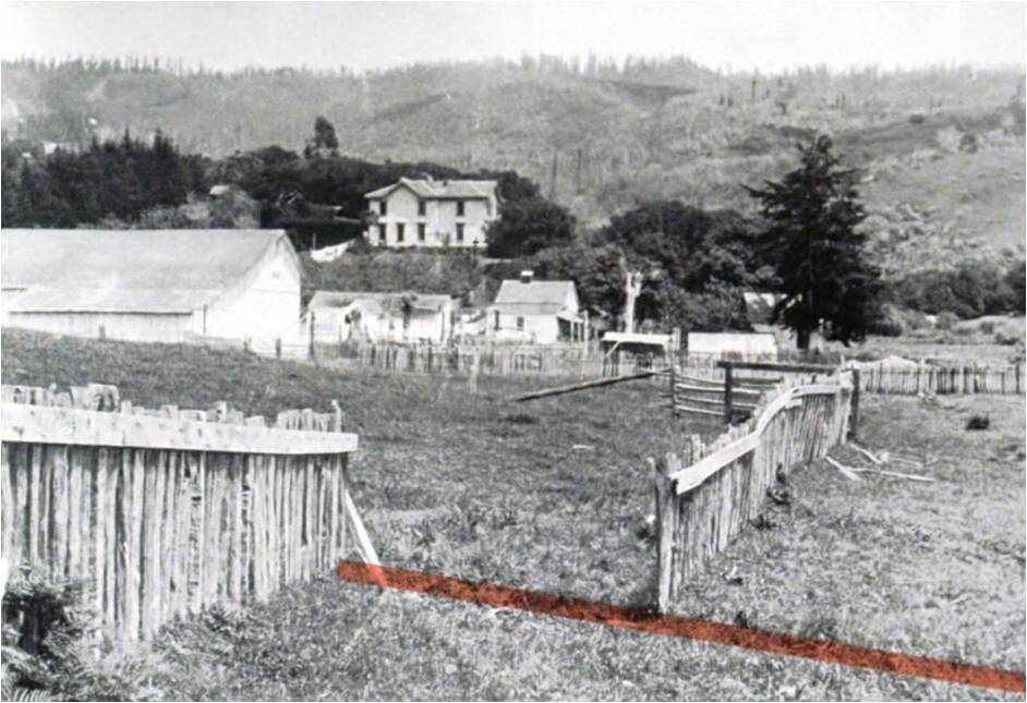 A photo of an offset fence seen soon after the M 7.8 Great San Francisco earthquake of 1906. The San Andreas fault's surface trace is drawn as a colored band. This area is now part of Point Reyes National Seashore. Image from Stein and Wysession 2003; online PowerPoint presentation.