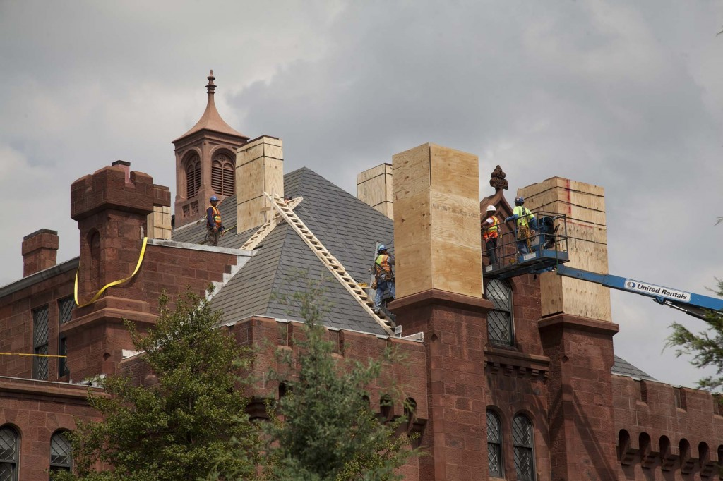 The Aug.23 earthquake caused damage to the chimneys and other high-up structures on the east end of the Smithsonian Castle. (Photos by Mark Avino and Eric Long)