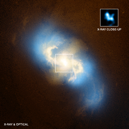 Evidence for a pair of supermassive black holes in a spiral galaxy has been found in data from NASA's Chandra X-ray Observatory. This main image is a composite of X-rays from Chandra (blue) and optical data from the Hubble Space Telescope (gold) of the spiral galaxy NGC 3393. Meanwhile, the inset box shows the central region of NGC 3993 as observed just by Chandra. The diffuse blue emission in the large image is from hot gas near the center of NGC 3393 and shows low energy X-rays. The inset shows only high energy X-rays, including emission from iron. This type of emission is a characteristic feature of growing black holes that are heavily obscured by dust and gas. Two separate peaks of X-ray emission (roughly at 11 o'clock and 4 o'clock) can clearly be seen in the inset box. These two sources are black holes that are actively growing, generating X-ray emission as gas falls towards the black holes and becomes hotter. The obscured regions around both black holes block the copious amounts of optical and ultraviolet light produced by infalling material. Credit: NASA Chandra
