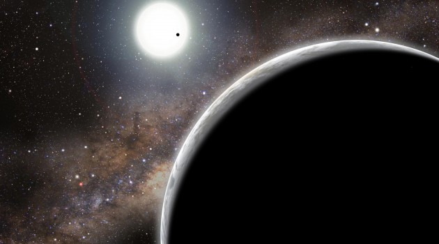 Artist's conception of Kepler-16b (foreground) and its two stars. (David A. Aguilar image)