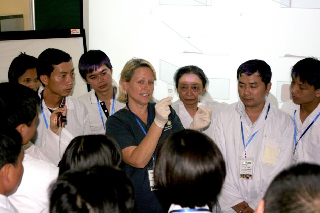 Dr. Suzan Murray, center, with participants of the Emerging Pandemic Threats workshop in Vietnam.