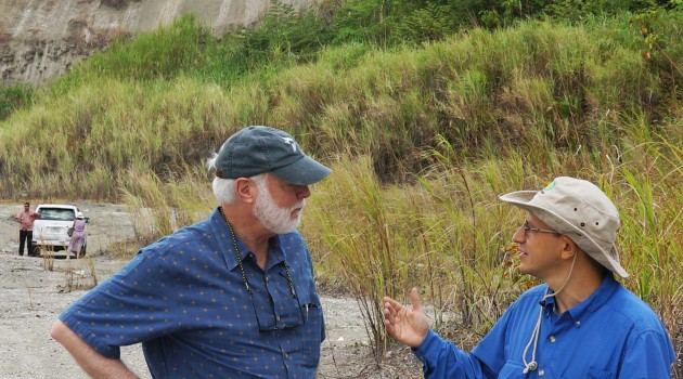Wayne Clough & Carlos Jaramillo, at a research site near the Panama Canal.
