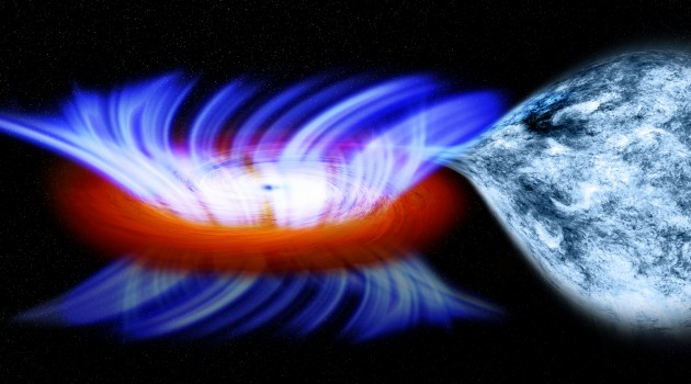 Image right: This artist's impression shows a binary system containing a stellar-mass black hole called IGR J17091-3624, or IGR J17091 for short.