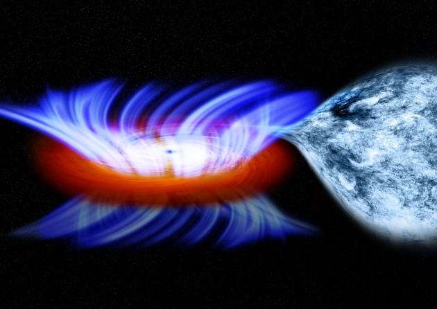 This artist's impression shows a binary system containing a stellar-mass black hole called IGR J17091-3624, or IGR J17091 for short.