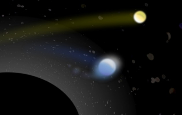 Artist's conception of a supermassive black hole (lower left) with its tremendous gravity capturing one star (bluish, center) from a pair of binary stars, while hurling the second star (yellowish, upper right) away at a hypervelocity of more than 1 million mph. The grayish blobs are other stars captured in a cluster near the black hole. They appear distorted because the black hole's gravity curves spacetime and thus bends the starlight. Photo Credit: Ben Bromley, University of Utah.