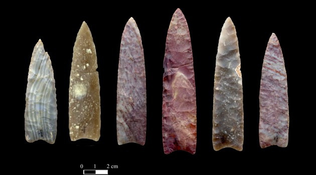 Image right: Clovis stone points from the Drake Cache of Colorado. Click to enlarge. (Photo by Chip Clark, Smithsonian)