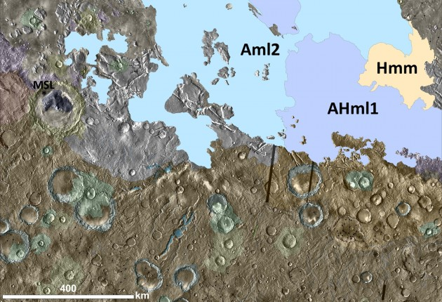 Image right: Geologic map of the MC-23 NW quadrangle on Mars, highlighting MFF units in solid colors. The landing site targeted for the Mars Science Laboratory (Curiosity) rover is shown inside Gale crater, at center left. The new mapping reveals MFF materials much closer to Gale crater than had been previously recognized. (Credit: James R. Zimbelman and Stephen P. Scheidt, Smithsonian)