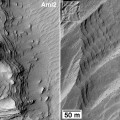Image left: Uniformly bedded materials visible within western MFF (left) and near the top of the large central mound in Gale crater (right). Portions of two HiRISE (High Resolution Imaging Science Experiment) frames. (NASA/JPL-Caltech/University of Arizona)