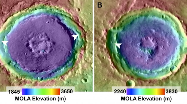 Melting snow likely created fan deposits inside Martian craters, geologists say