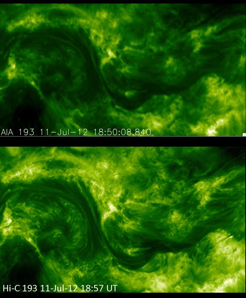 These photos of the solar corona, or million-degree outer atmosphere, show the improvement in resolution offered by NASA's High Resolution Coronal Imager, or Hi-C (bottom), versus the Atmospheric Imaging Assembly on NASA's Solar Dynamics Observatory (top). Both images show a portion of the sun's surface roughly 85,000 by 50,000 miles in size. Hi-C launched on a sounding rocket on July 11, 2012 in a flight that lasted about 10 minutes. The representative-color images were made from observations of ultraviolet light at a wavelength of 19.3 nanometers (25 times shorter than the wavelength of visible light). Credit: NASA