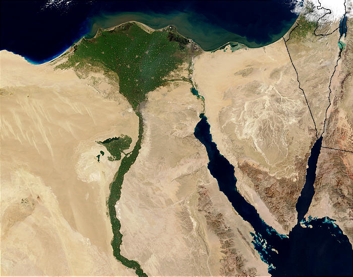 The Nile River and Delta seen from space. (NASA image)