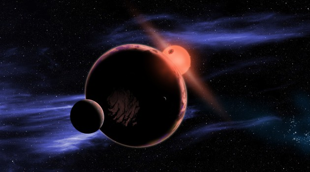 Image above: This artist's conception shows a hypothetical habitable planet, orbiting a red dwarf star, with two moons. Astronomers have found that 6 percent of all red dwarf stars have an Earth-sized planet in the habitable zone.  (Image courtesy
