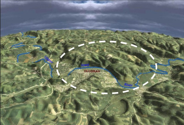3-D view of Decorah, Iowa and the Upper Iowa River. Scene is looking due north.