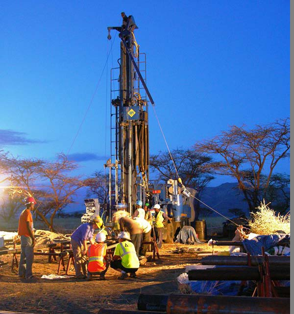 In September 2012, Rick Potts's team recovered the first long climate core from an early human site by drilling to the floor of the East African Rift Valley in southern Kenya. The core reached sediments more than 160 meters below the ground. (Photo by Jennifer Clark)