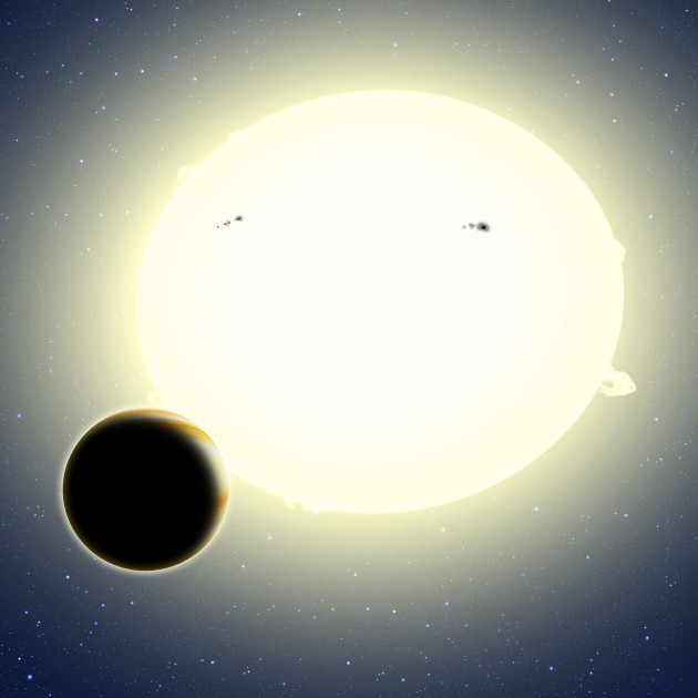 """""""Einstein's planet,"""" formally known as Kepler-76b, is a """"hot Jupiter"""" that orbits its star every 1.5 days. Its diameter is about 25 percent larger than Jupiter and it weighs twice as much. This artist's conception shows Kepler-76b orbiting its host star, which has been tidally distorted into a slight football shape (exaggerated here for effect). The planet was detected using the BEER algorithm, which looked for brightness changes in the star as the planet orbits due to relativistic BEaming, Ellipsoidal variations, and Reflected light from the planet. (Image by David Aguilar)"""