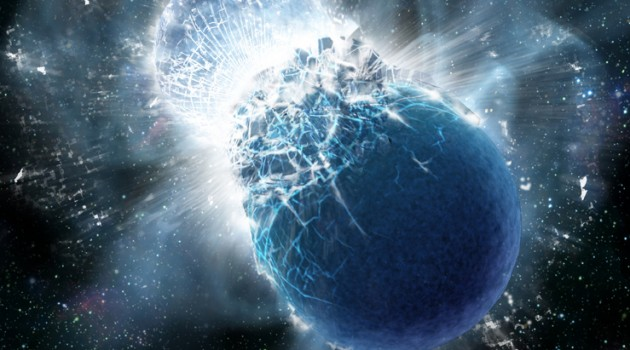 This artist's conception portrays two neutron stars at the moment of collision. New observations confirm that colliding neutron stars produce short gamma-ray bursts. Such collisions produce rare heavy elements, including gold. All Earth's gold likely came from colliding neutron stars. (Image by Dana Berry, SkyWorks Digital, Inc.)