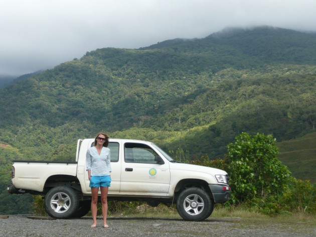 Katie Cramer on the road in Panama transporting coral samples from Bocas del Toro to Panama City.
