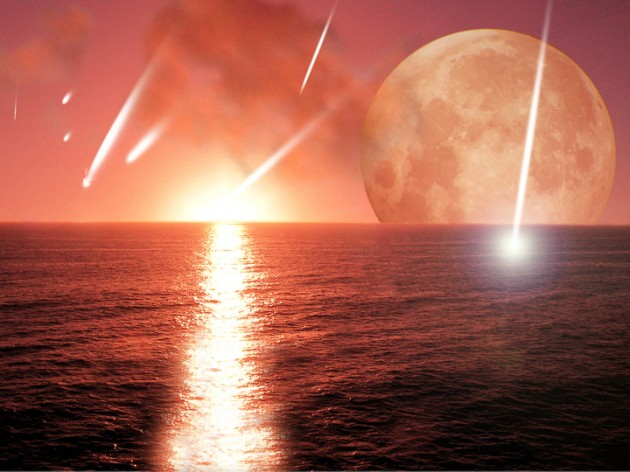 Astronomers have theorized that long-ago asteroid impacts delivered much of the water now filling Earth's oceans, as shown in this artist's conception. If true, the stirring provided by migrating planets may have been essential to bringing those asteroids.