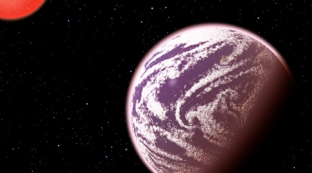 KOI-314c, shown in this artist's conception, is the lightest planet to have both its mass and physical size measured. Surprisingly, although the planet weighs the same as Earth, it is 60 percent larger in diameter, meaning that it must have a very thick, gaseous atmosphere. It orbits a dim, red dwarf star (shown at left) about 200 light-years from Earth. KOI-314c interacts gravitationally with another planet, KOI-314b (shown in the background), causing transit timing variations that allow astronomers to measure the masses of both worlds. This serendipitous discovery resulted from analysis as part of the Hunt for Exomoons with Kepler (HEK) project. (Image by C. Pulliam & D. Aguilar)