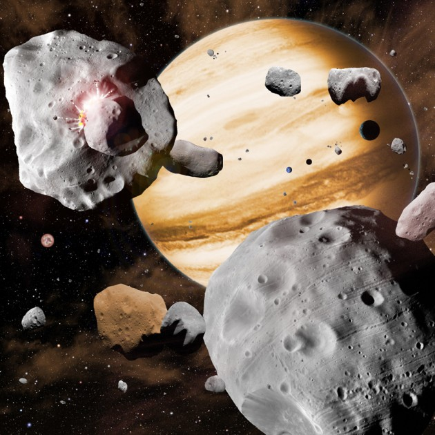 In this artist's conception, Jupiter's migration through the solar system has swept asteroids out of stable orbits, sending them careening into one another. As the gas giant planets migrated, they stirred the contents of the solar system. Objects from as close to the Sun as Mercury, and as far out as Neptune, all collected in the main asteroid belt, leading to the diverse composition we see today. (Image by David A. Aguilar)
