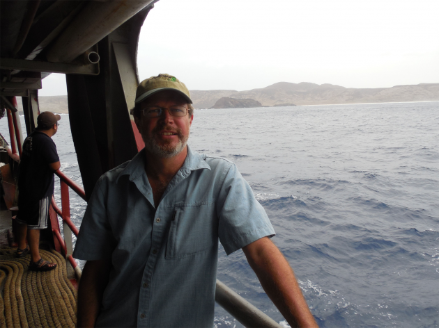 Mulcahy on his way to Clarion, a remote island off of the coast of Mexico and the one place in the world where the Clarion Nightsnake can be found. The Clarion Nightsnake, which was initially discovered in the first half of the 19th century and then struck from the scientific record, was rediscovered and declared a new species by National Museum of Natural History researcher Daniel Mulcahy and a team of Mexican scientists led by ecologist Juan Martínez-Gómez in May 2014. (Photo courtesy of Juan Martínez-Gómez)