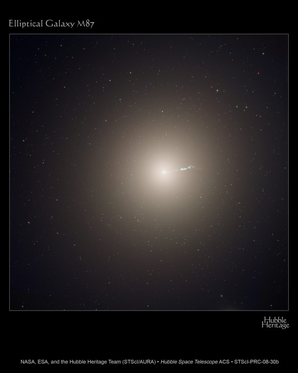 The monstrous elliptical galaxy M87 is the home of several trillion stars, a supermassive black hole, and a family of 15,000 globular star clusters. One of those globular clusters, HVGC-1, is escaping the galaxy after being flung outward at tremendous speed.
