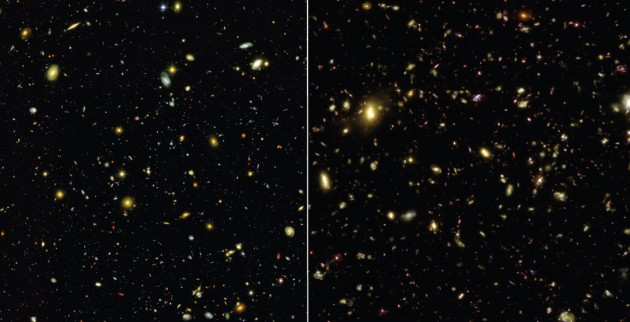 These visible-light images compare an actual photograph of the sky (left) taken with the Hubble Space Telescope to a simulated view (right) generated by the Illustris simulation. The simulation accurately reproduces the sizes, types, and colors of galaxies in the universe. (Illustris Collaboration)