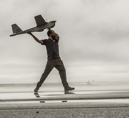 An Aeroenvironment Puma drone is launched in Alaska. (Image courtesy Aeroenvironment)