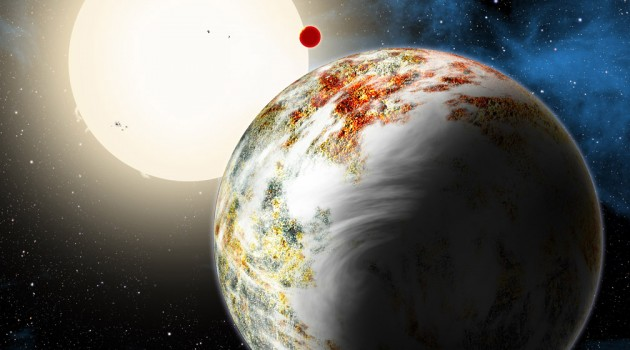 """""""Mega-Earth"""" Kepler-10c dominates the foreground in this artist's conception. Its sibling, the lava world Kepler-10b, is in the background. Both orbit a sunlike star. Kepler-10c has a diameter of about 18,000 miles, 2.3 times as large as Earth, and weighs 17 times as much. Therefore it is all solids, although it may possess a thin atmosphere shown here as wispy clouds. (David A. Aguilar, CfA)"""