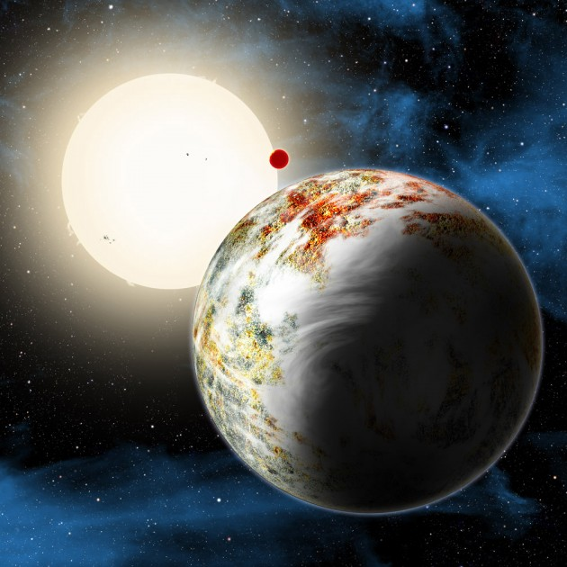 "The newly discovered ""mega-Earth"" Kepler-10c dominates the foreground in this artist's conception. Its sibling, the lava world Kepler-10b, is in the background. Both orbit a sunlike star. Kepler-10c has a diameter of about 18,000 miles, 2.3 times as large as Earth, and weighs 17 times as much. Therefore it is all solids, although it may possess a thin atmosphere shown here as wispy clouds. (David A. Aguilar, CfA)"