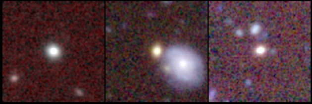 "This series of photos shows three ""red nugget"" galaxies at a distance of about 4 billion light-years, and therefore seen as they were 4 billion years ago. At left, a lonely one without companion galaxies. The one in the middle is alone as well, although it appears to be next to a larger spiral galaxy. That blue spiral is actually much closer to us, only one billion light-years away. Finally, the red nugget on the right might have some companion galaxies residing nearby. (Image courtesy Ivana Damjanov & CFHT MegaCam Team)"