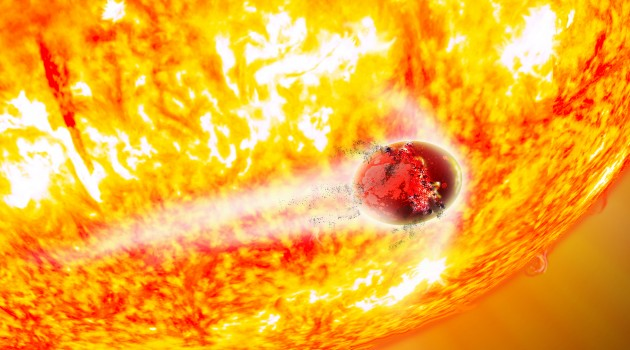 """In this artist's conception, the doomed world Kepler-56b is being tidally shredded and consumed by its aging host star. New research shows that Kepler-56b will be engulfed by its star in about 130 million years, while its sibling Kepler-56c will be swallowed in 155 million years. This is the first time that two known exoplanets in a single system have a predicted """"time of death."""" (David A. Aguilar, CfA)"""