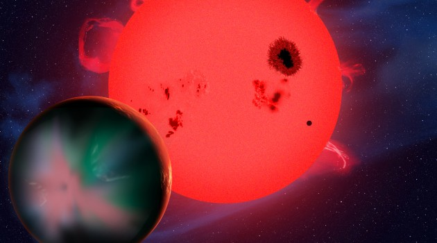 This artist's conception shows a hypothetical alien world orbiting a red dwarf star. Although it is in the star's habitable zone, this planet faces an extreme space environment that is stripping its atmosphere and generating powerful aurorae. Since they are subjected to such harsh physical conditions, red-dwarf planets may not be habitable after all, so life in the universe might be even rarer than we thought. (Image by David A. Aguilar, CfA)